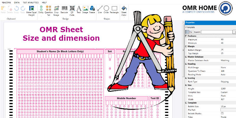 Size and dimension of an OMR Sheet