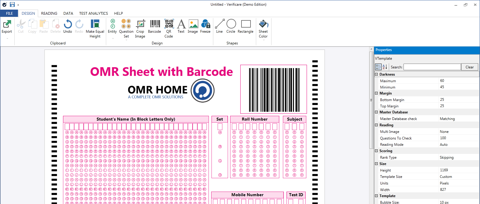 omr sheet with barcode