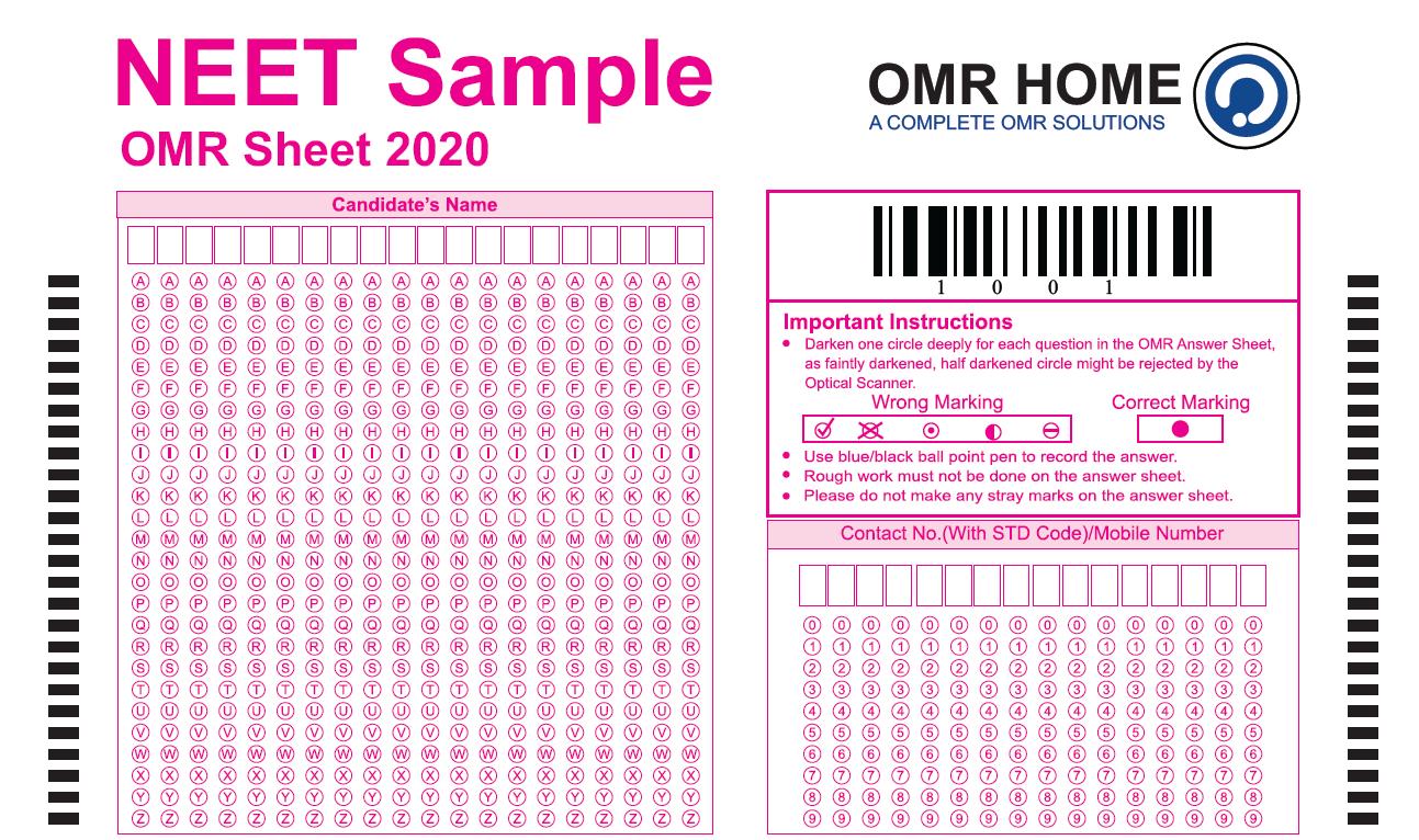 neet omr sheet 2020